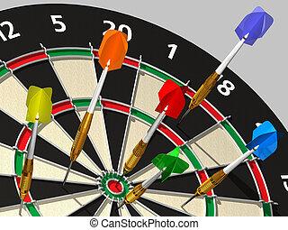 Darts on Target - darts at a target - game - 3d render