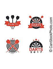 Darts set labels sports emblem and symbol isolated on white background. Dart boards target with darts arrow icon.