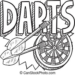Darts sketch - Doodle style darts sports illustration....