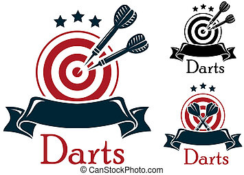 Darts sport emblem - Darts emblem with crossed a dart board...