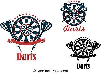 Darts sport game emblems and symbols with target, dart,...
