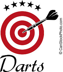 Darts sporting emblem with dartboard and stars isolated on...