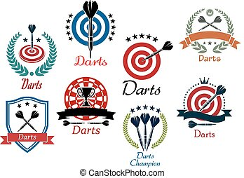 Darts sporting emblems, symbols and icons
