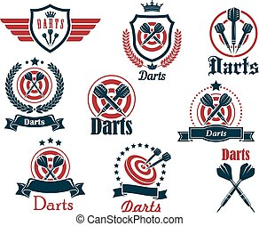 Darts sporting icons and emblems with arrows, target,...