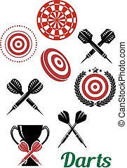 Darts sporting red and black elements