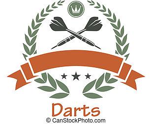 Darts sports heraldic emblem