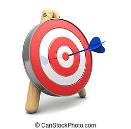 darts target - 3d illustration of target with dart, over ...