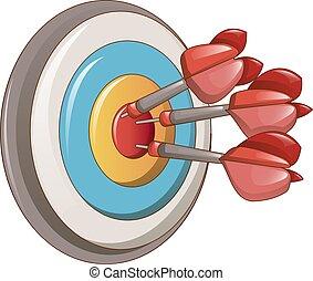 Darts target icon, cartoon style