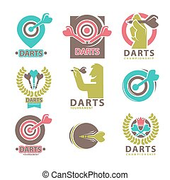 Darts Tournament Emblems Collection on White.