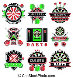Darts tournament icons and badges for sport clubs.