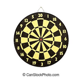 Darts - Used darts board isolated on white background