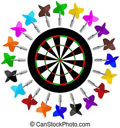 Darts and dartboard. Illustration on white background.