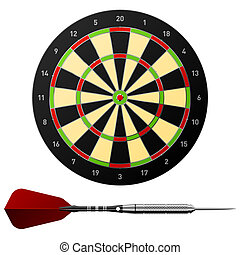 Darts - Vector illustration of a dartboard with dart