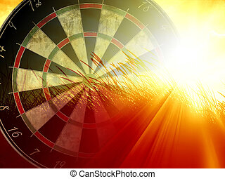dartsboard - darts board on a bright orange background