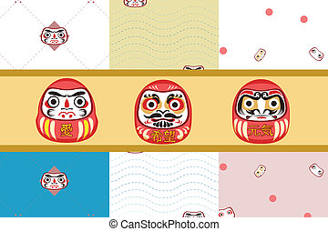 Dharma doll, Japanese traditional with seamless pattern