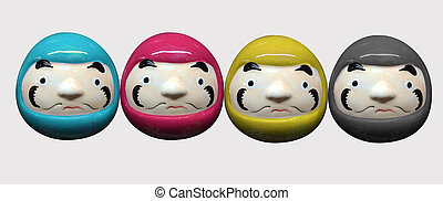 daruma doll in CMYK color concept in white isolate background