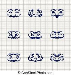 Daruma dolls faces on notebook background