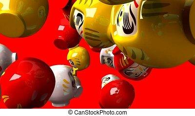 Daruma dolls on red background. 3DCG render animation.
