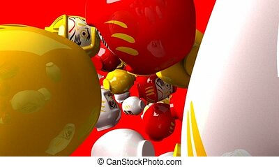 Daruma dolls on red background. Loop able 3D render...