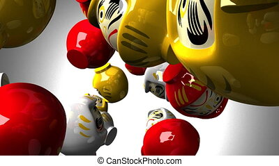 Daruma dolls on white background.