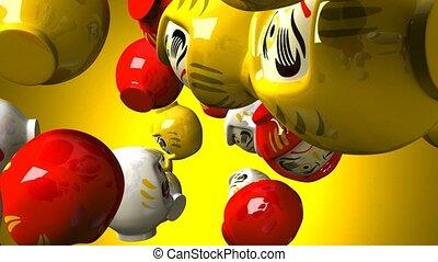 Daruma dolls on yellow background. 3DCG render animation.