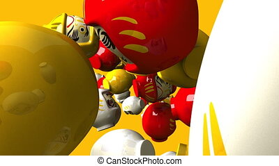 Daruma dolls on yellow background. Loop able 3DCG render...