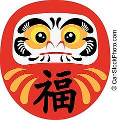 daruma, japonés, ilustración, muñeca