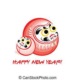 Daruma New Year card