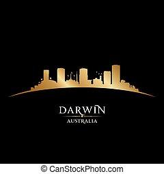 Darwin Australia city silhouette black background