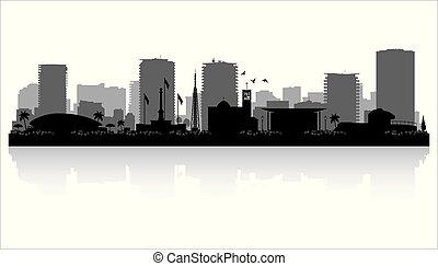 Darwin Australia city skyline silhouette