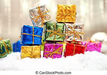 dary, śnieg, barwny, boże narodzenie