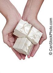 dary, biały, ręka