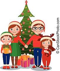 dary, drzewo, boże narodzenie, rodzina