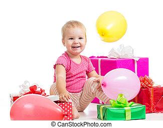 dary, dziewczyna, szczęśliwy, balony, dziecko