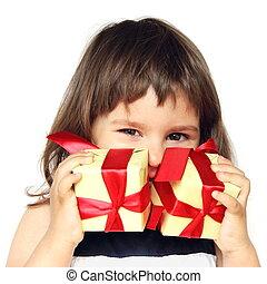 dary, dziewczyna, szczęśliwy, dzierżawa wręcza