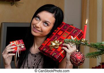 dary, kobieta, młody, boże narodzenie