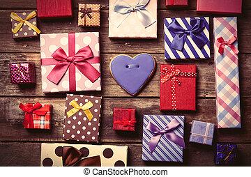 dary, stół, cookie, barwny