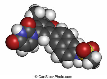 Dasabuvir hepatitis C virus drug molecule. Atoms are represented as spheres with conventional color coding: hydrogen (white), carbon (grey), oxygen (red), nitrogen (blue), sulfur (yellow).