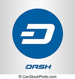 Dash open-source cripto currency on blockchain technology vector, icon, sign for print and web.