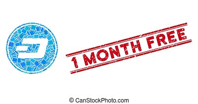 Dash Coin Mosaic and Grunge 1 Month Free Stamp Seal with Lines