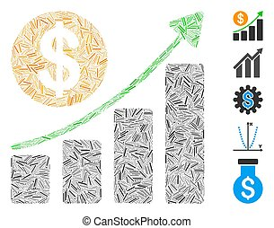 Dash Collage Dollar Growth Graph Icon