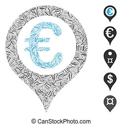 Dash Collage Euro Geotargeting Icon - Line Collage based on ...