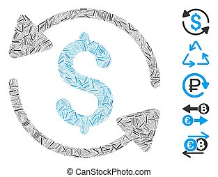 Dash Collage Money Turnover Icon - Line Mosaic based on ...