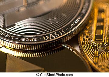 dash crypto coin close up