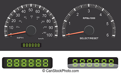 Speedometer and Tachometer guage set with mileage LED details.