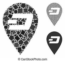 Dash map marker Mosaic Icon of Rugged Pieces