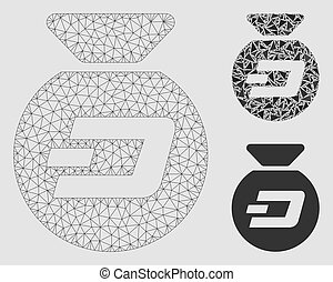 Dash Money Bag Vector Mesh Network Model and Triangle Mosaic...