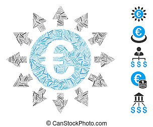 Dash Mosaic Euro Payments Icon - Line Mosaic based on Euro ...