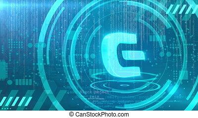 Dash symbol rotating on a cyan HUD background. Seamless loop.