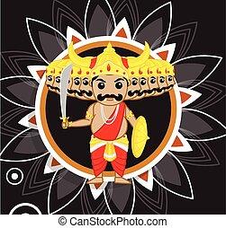 dashami, vijaya, ravan, -, cartoon